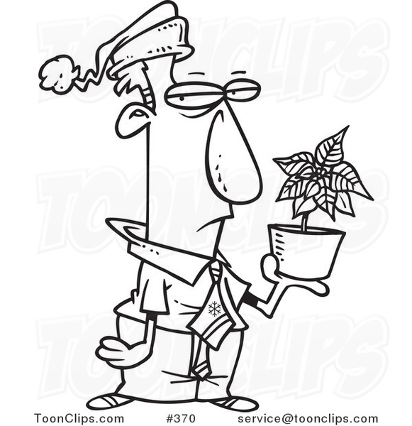 Cartoon Coloring Page Line Art of a Grumpy Employee