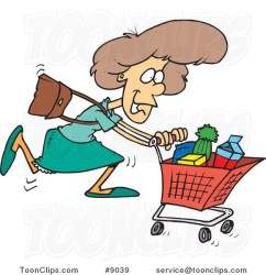 shopping grocery cartoon lady leishman ron buying toonclips copyright