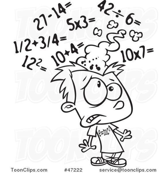 Cartoon Black and White Boy Getting a Sore Head from Math