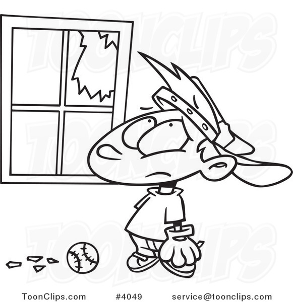 Cartoon Black and White Line Drawing of a Baseball Boy