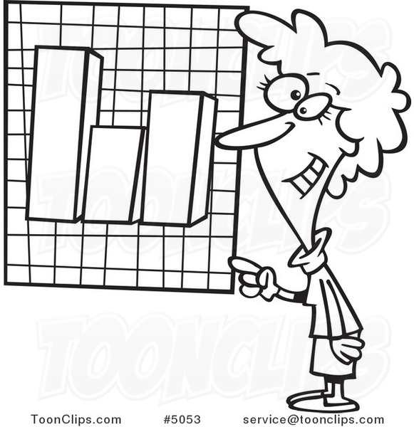 Cartoon Black and White Line Drawing of a Business Woman