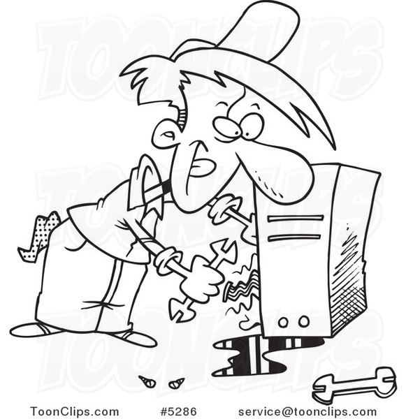 Cartoon Black and White Line Drawing of a Computer Repair