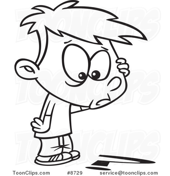 Cartoon Black and White Line Drawing of a Confused Boy