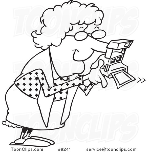 Cartoon Black and White Line Drawing of a Granny Using a