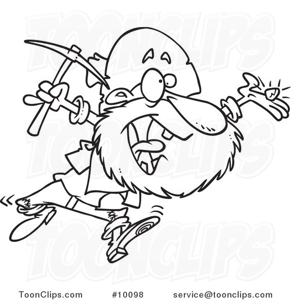 Cartoon Black and White Line Drawing of a Happy Prospector