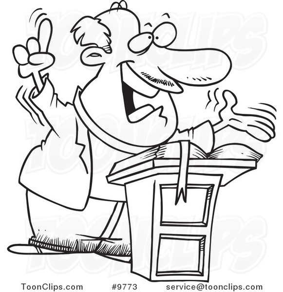 Cartoon Black and White Line Drawing of a Preaching Pastor