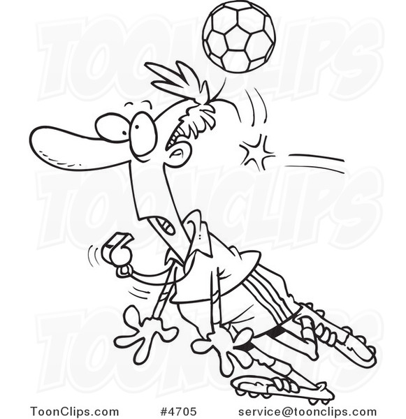 Cartoon Black and White Line Drawing of a Soccer Ball