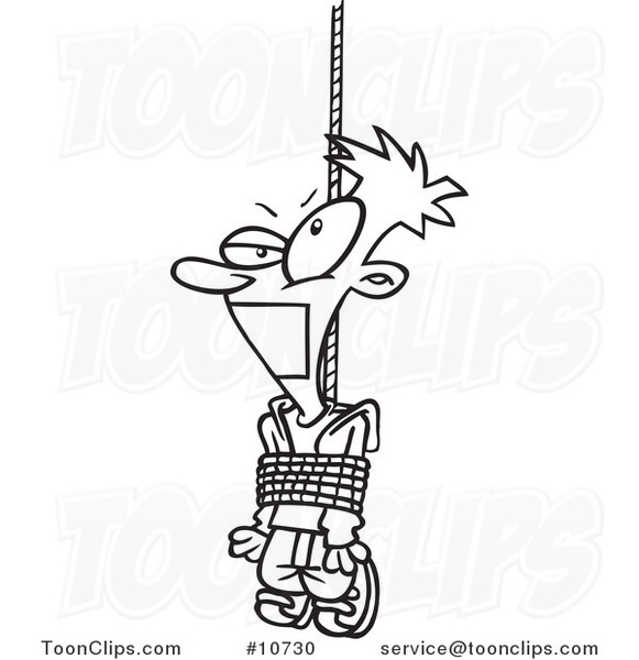 Cartoon Black and White Line Drawing of a Tied and Gagged