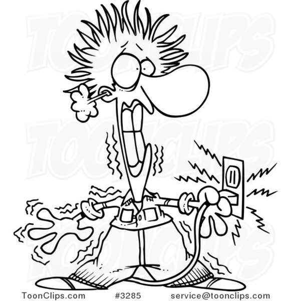 Cartoon Black and White Line Drawing of an Electrician