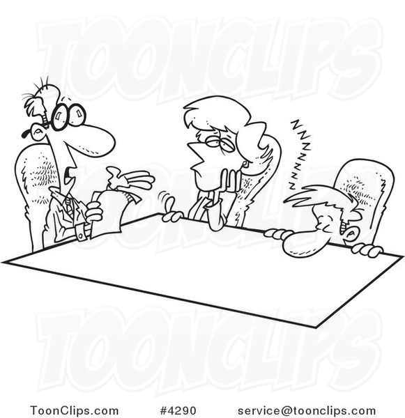 Cartoon Black and White Line Drawing of Bored Employees at