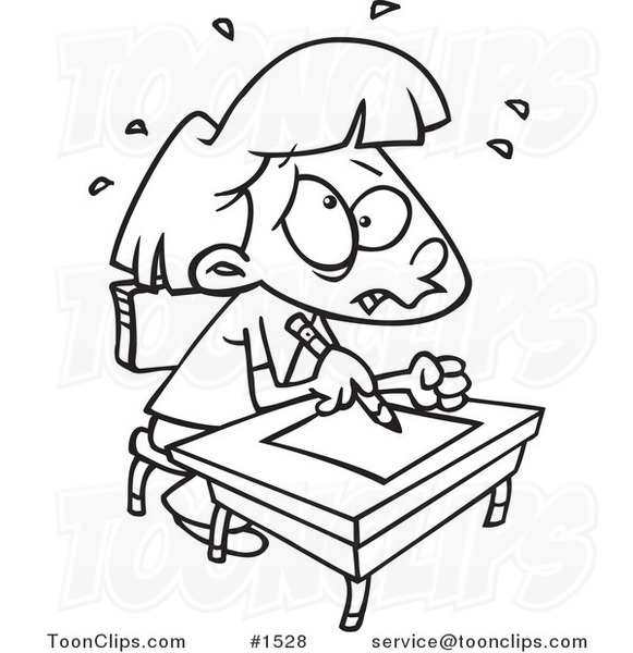 Cartoon Black and White Outline Design of a Stressed