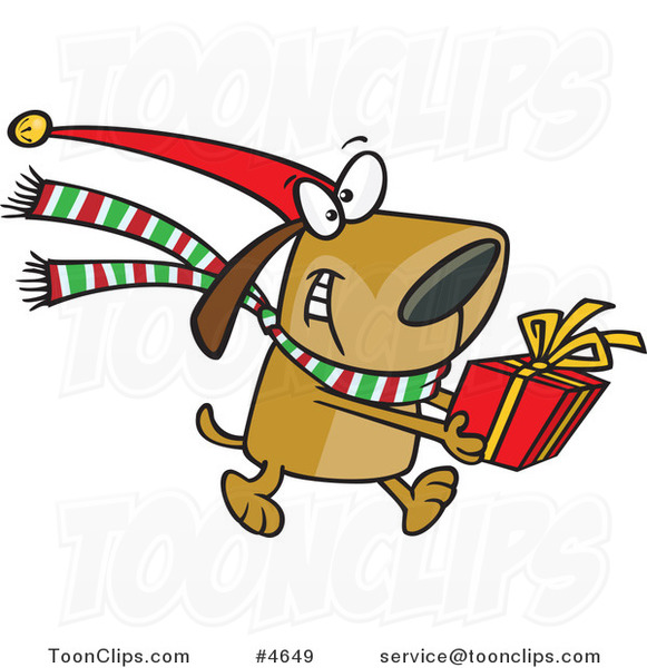 Cartoon Christmas Dog Carrying A Present 4649 By Ron Leishman