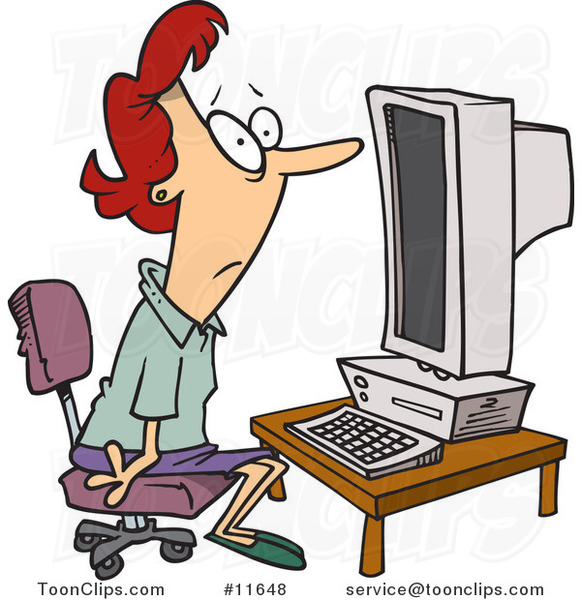 Cartoon Computer Illiterate Lady Sitting In Front Of A