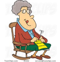 Cartoon Granny Knitting in a Rocking Chair #2402 by Ron ...