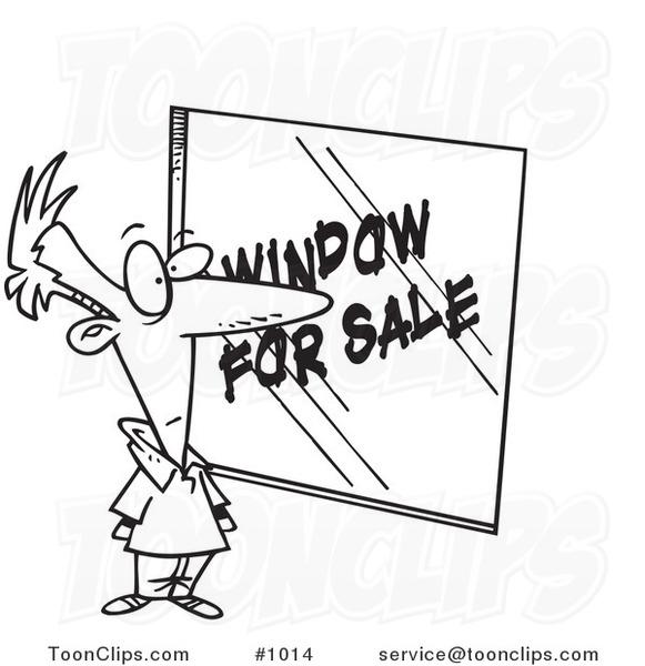 Cartoon Line Art Design of a Homeowner Shopping for