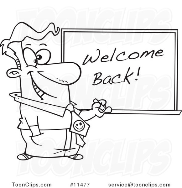 Cartoon Line Drawing of a Teacher Writing Welcome Back on