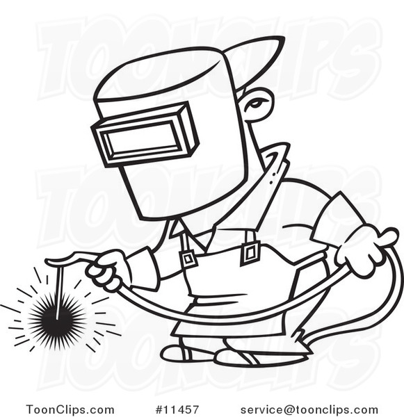 Cartoon Line Drawing of a Welder at Work #11457 by Ron