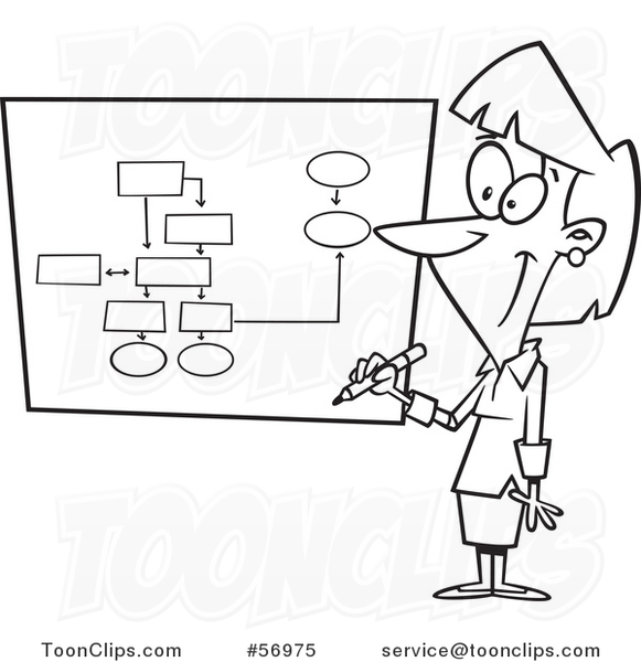 Cartoon Outline Businesswoman Drawing a Chart for Project