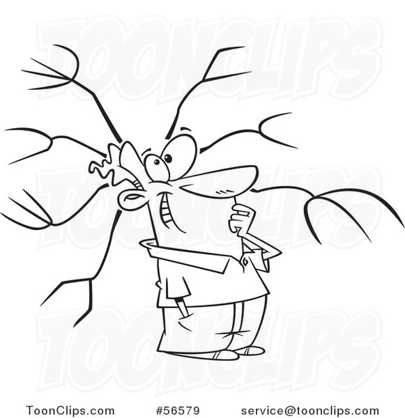 Cartoon Outline Guy with a Mind Map #56579 by Ron Leishman