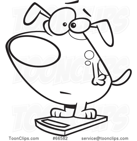 Cartoon Outline Obese Dog on a Scale #66582 by Ron Leishman