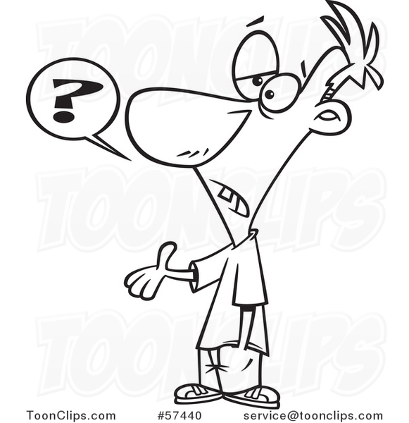Cartoon Outline of Guy Asking a Dumb Question #57440 by