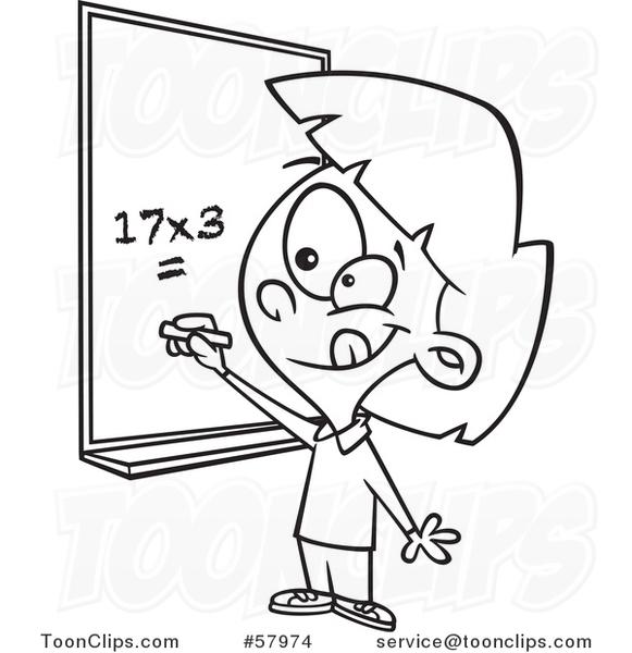 Cartoon Outline of School Girl Solving a Multiplication