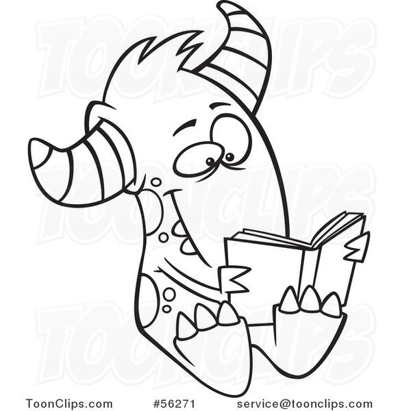 Outline Cartoon Monster Reading a Book #56271 by Ron Leishman