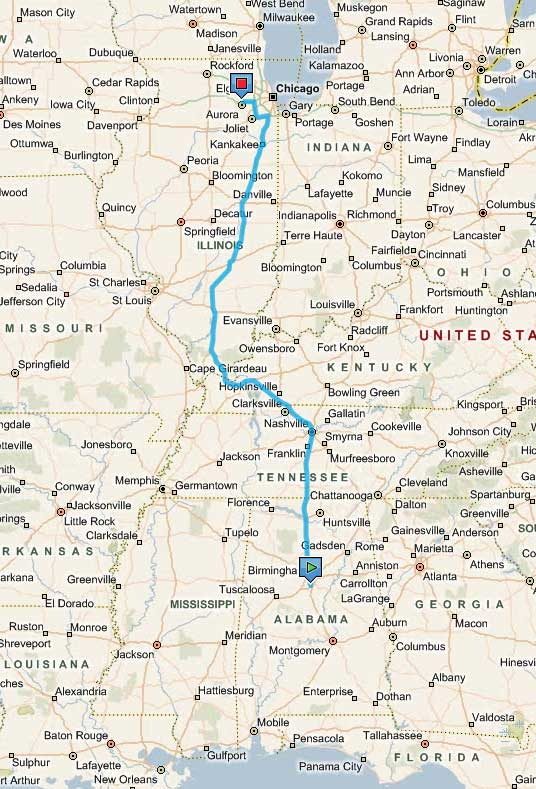 Birmingham, Alabama to Aurora, Illinois - 730 miles, 11-12 hours (w/ kids)!