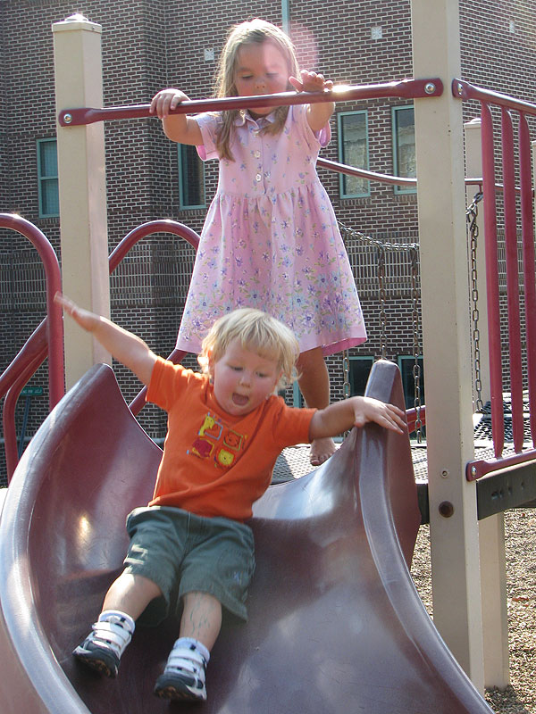 Josiah and Analise had fun too on the playground right next to the course and the free bounce-house before the race!