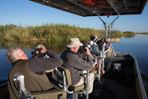 Specialist photo boat on Chobe safari