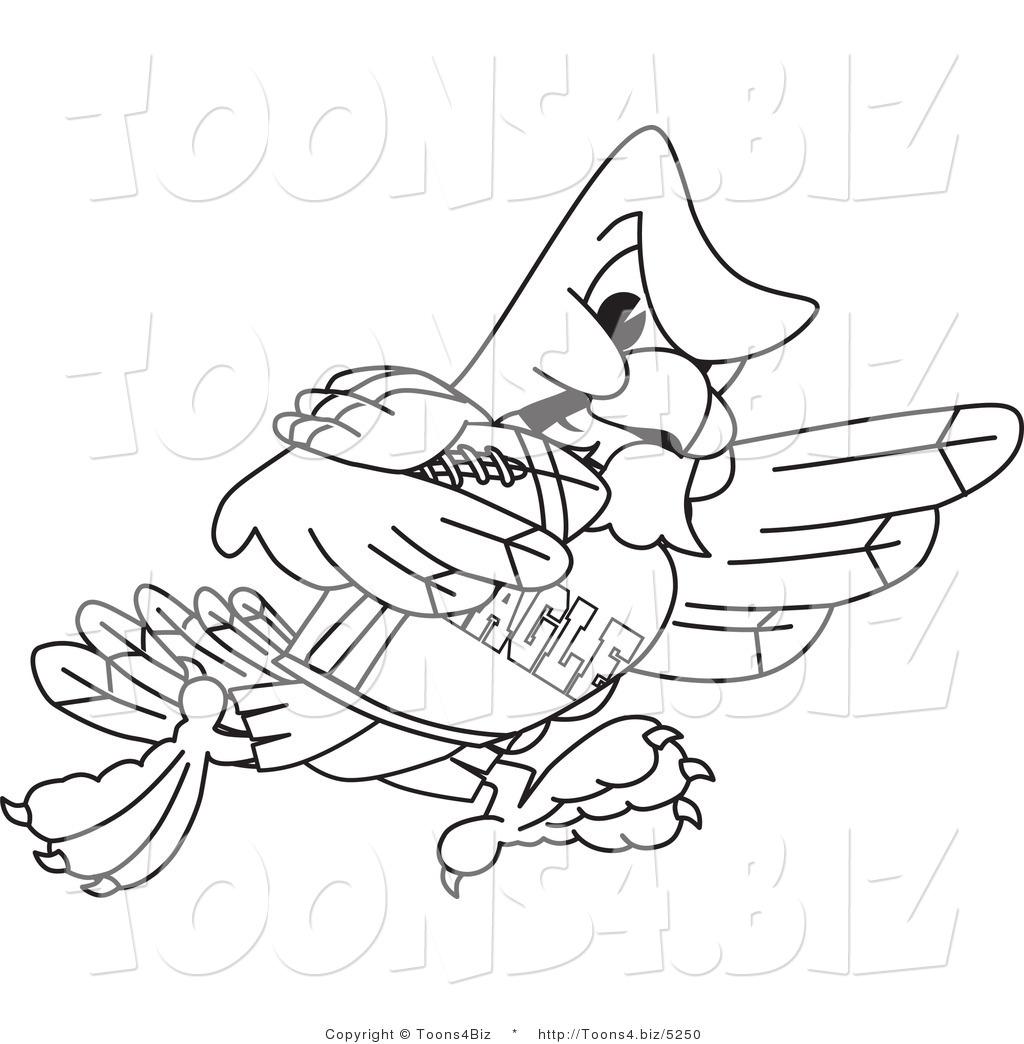 Vector Illustration Of A Bald Eagle Football Player
