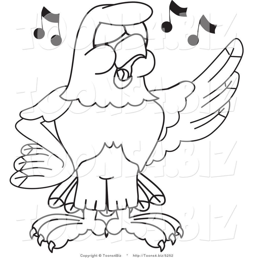 Vector Illustration Of A Bald Eagle Singing Outline By