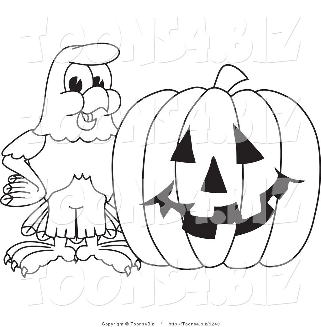 Vector Illustration Of A Bald Eagle With A Pumpkin Outline