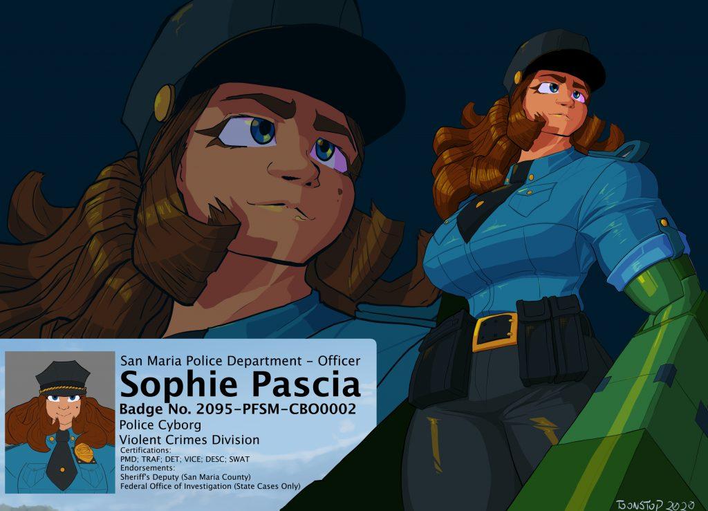 sophie cyborg police officer splash image