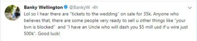 Don't Fall Victim, I'm Not Selling Tickets To My Wedding Ceremony – Banky W