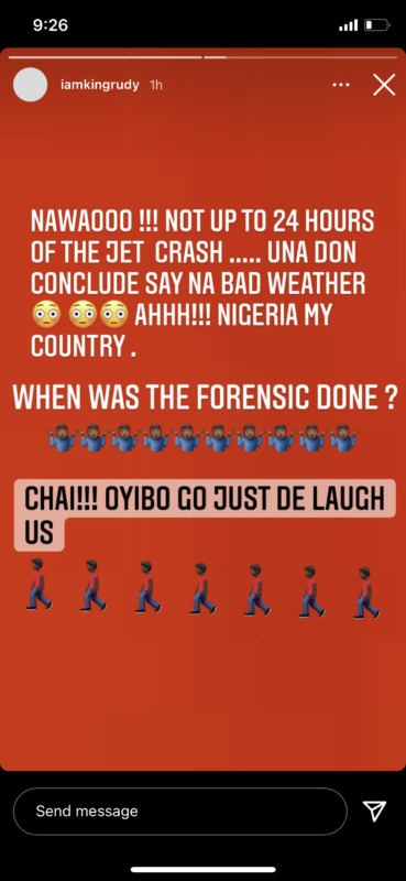 """Oyibo Go Just Dey Laugh Us"" – Rudeboy Speaks On The Investigations Of The Kaduna Jet Crash 2"