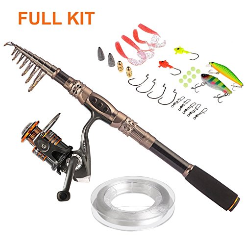 PLUSINNO Spin Spinning Rod Reel Combos Carbon Telescopic Fishing Rod with Reel Combo Sea Saltwater Freshwater Kit Fishing Rod Kit(1.8M 5.91FT Fishing Rod + Reel)