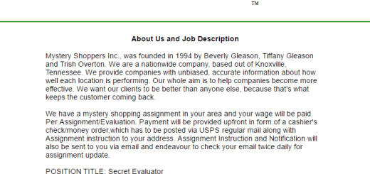 Beware Of Mystery Shoppers Inc. Knoxville Tennessee Job Scam