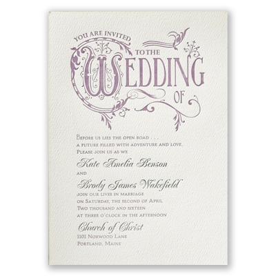 storybook style featherpress wedding invitation  ecru
