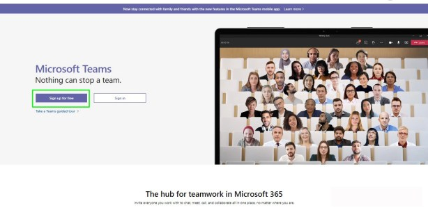 Microsoft Teams free sign up