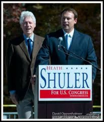 heath shuler alongside Clinton
