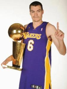 Adam Morrison holding NBA trophy