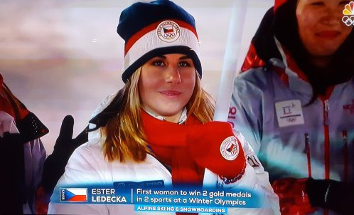 Ledecka at the PyeongChang closing ceremony