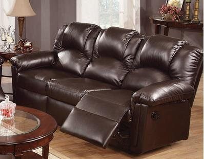 Best Leather Reclining Sofas Poundex Espresso Bonded Leather Reclining Motion Sofa