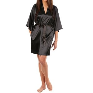 LAPAYA Women Kimono Robe Knee Length Bridal Lingerie Sleepwear Short Satin Robe