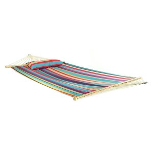 Sunnydaze Hammock Quilted Fabric Spreader Bar and Detachable Pillow