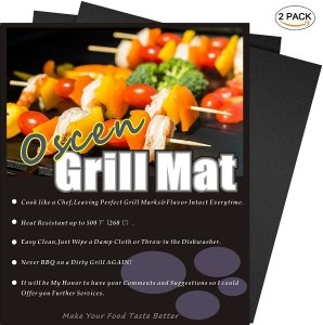 OscenLife BBQ Grill Mat - Set of 2 Non Stick Magic Grilling Mats