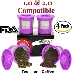 4 Reusable K Cups for Keurig 2.0 & 1.0 Coffee Makers