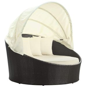 Modway Siesta Outdoor Wicker Patio Canopy Bed in Espresso