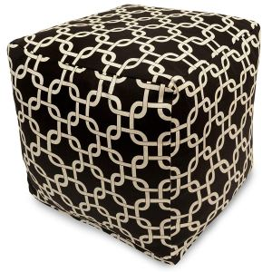 Majestic Home Goods Links Indoor/Outdoor Bean Bag Ottoman Pouf Cube